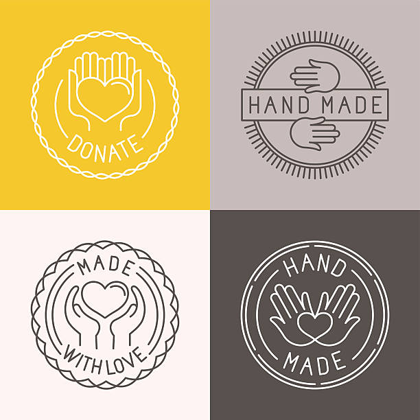 Vector hand made labels and badges Vector hand made labels and badges in linear trendy style - hand made, made with love, donate homemade stock illustrations