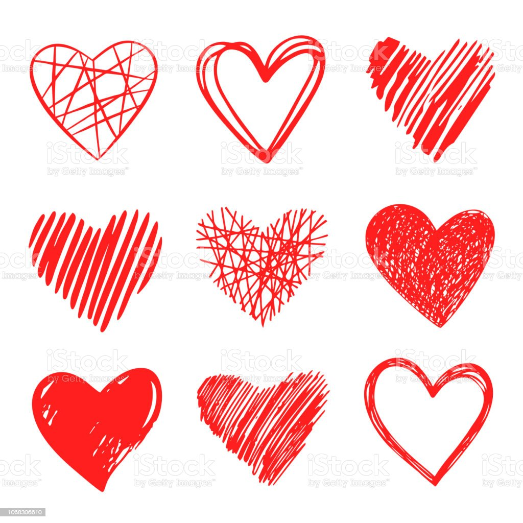 Vector hand pen drawn collection of graphic hearts. Design elements for Valentine's day. Vector hand pen drawn collection of graphic hearts. Design elements for Valentine's day. Pen drawing. - arte vettoriale royalty-free di Accarezzare
