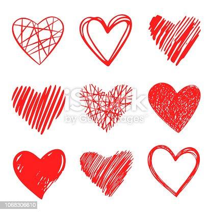 Vector hearts. Pen drawing.
