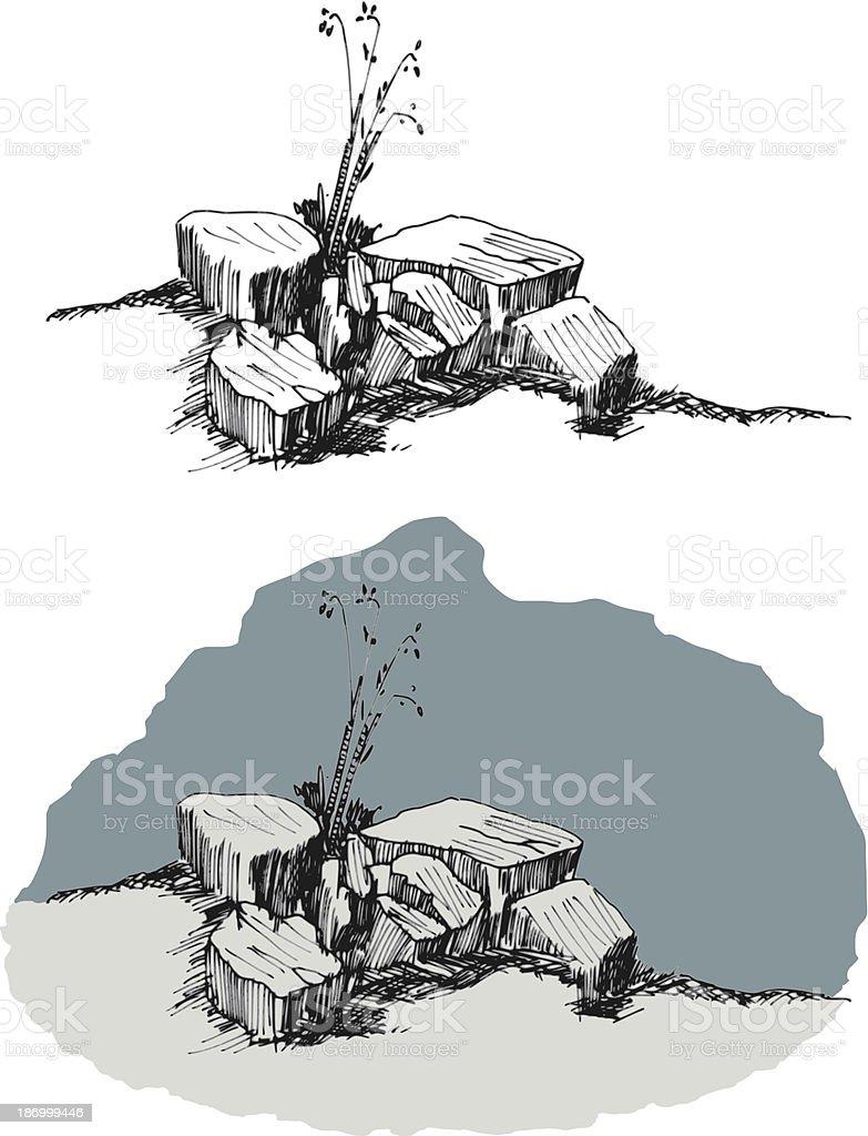 vector hand sketch of rocks royalty-free stock vector art