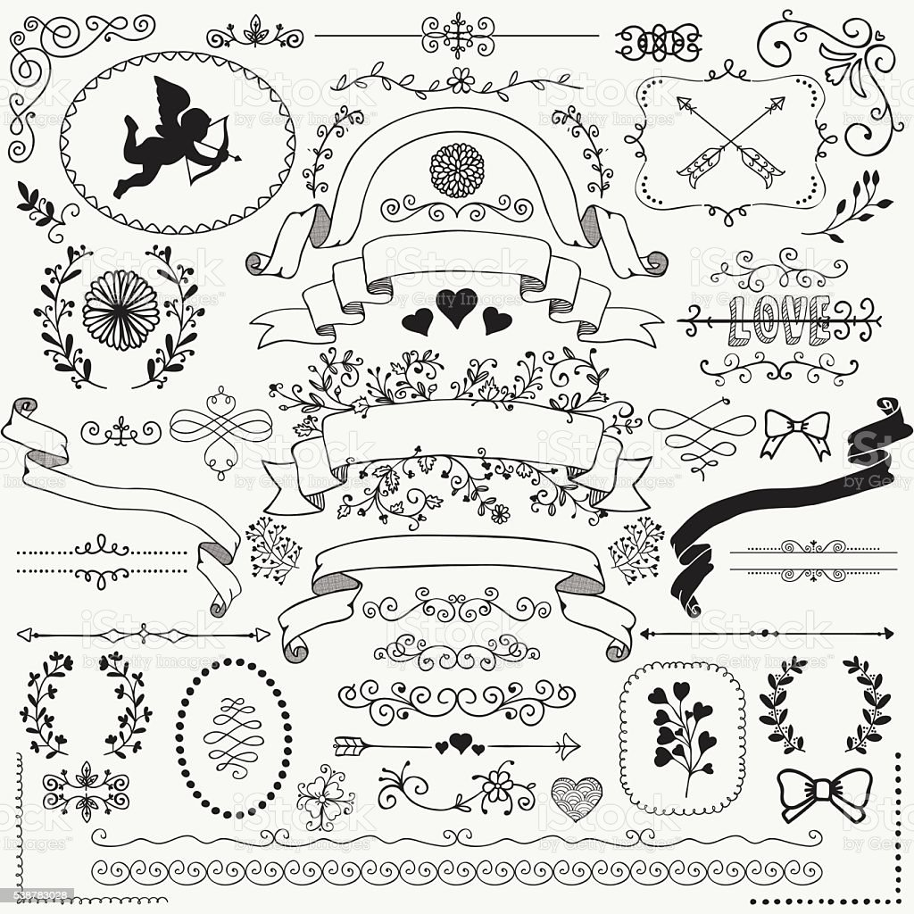 Vector Hand Sketched Rustic Floral Design Elements Stock Art