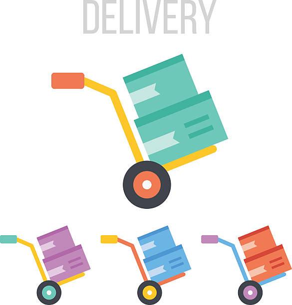 wektor wózek transportowy ikony - wózek transportowy stock illustrations