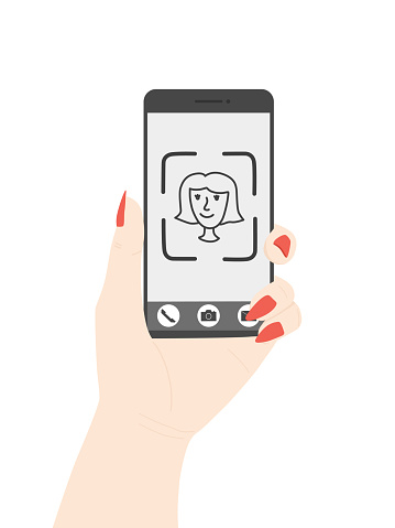 Vector hand with a smartphone