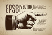 Vector hand with pointing finger in line engraving style