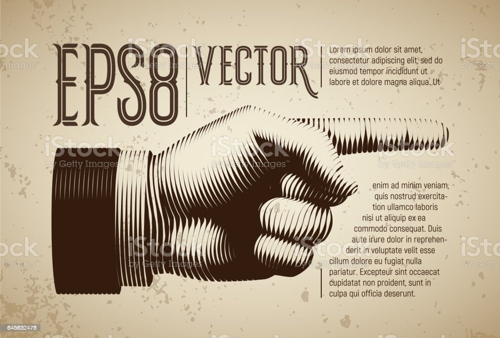 Vector hand with pointing finger in line engraving style vector art illustration