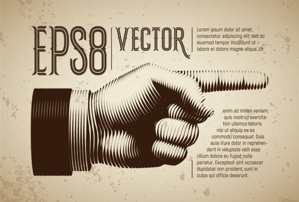 Vector hand with pointing finger in line engraving style Vector hand with pointing finger in line engraving style. Eps8. RGB Global colors aiming stock illustrations