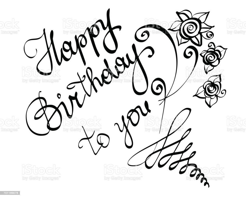Vektor Handgeschriebenen Schriftzug Kalligraphie Text Happy Birthday Ihnen Fur Grusskarte Lizenzfreies