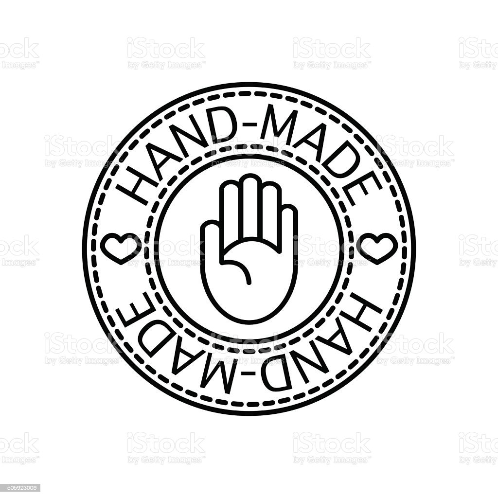 Vector handcrafted hand-made badge Vector handcrafted hand-made badge for your business and craft Art And Craft stock vector