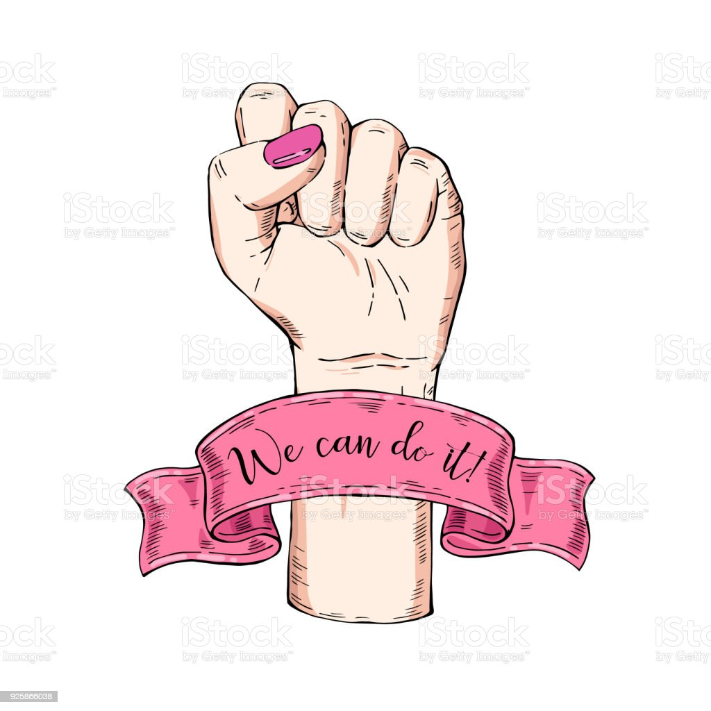 Vector hand-drawn background, sketch illustration. Template for printing, advertising, poster, poster, web design. Female hand with fist raised up. Symbol of feminism. We can do it. vintage rose vector art illustration