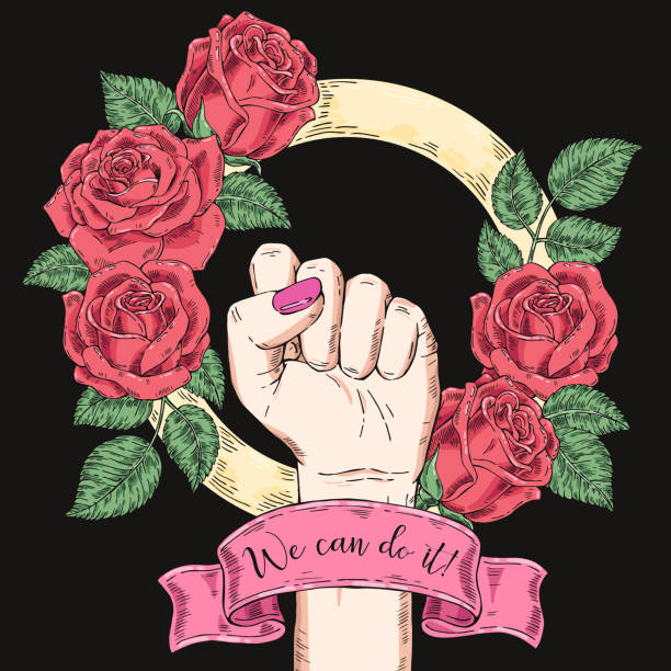 Vector hand-drawn background, sketch illustration. Template for printing, advertising, poster, poster, web design. Female hand with fist raised up. Symbol of feminism. We can do it. vintage rose Vector hand-drawn background, sketch illustration. Template for printing, advertising, poster, poster web design suffragist stock illustrations