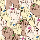 Vector hand-drawn background, sketch multicultural illustration Symbol of feminism