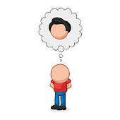 Vector hand-drawn cartoon of bald man standing imagine with thought bubble of hair