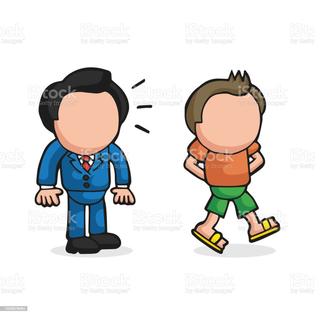 Vector hand-drawn cartoon of businessman looking and envy happy-go-lucky man walking in casual attire vector art illustration