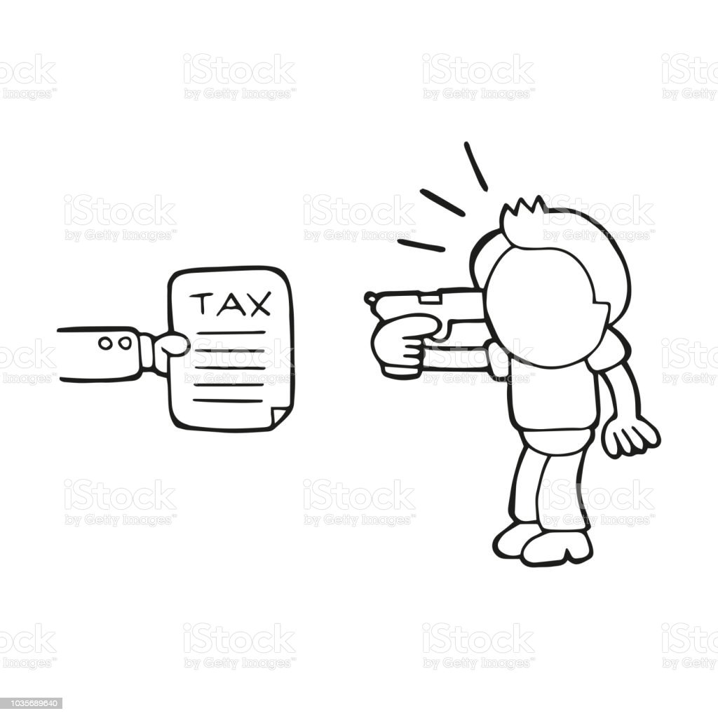 Vector hand-drawn cartoon of depressed man holding gun to head presented with tax vector art illustration