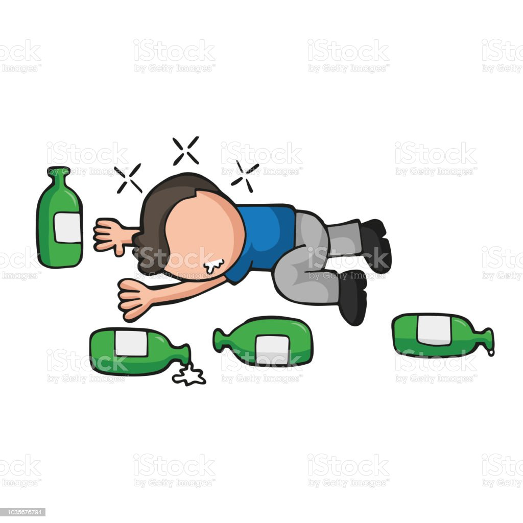 Vector hand-drawn cartoon of drunk man lying on floor with empty beer bottles vector art illustration