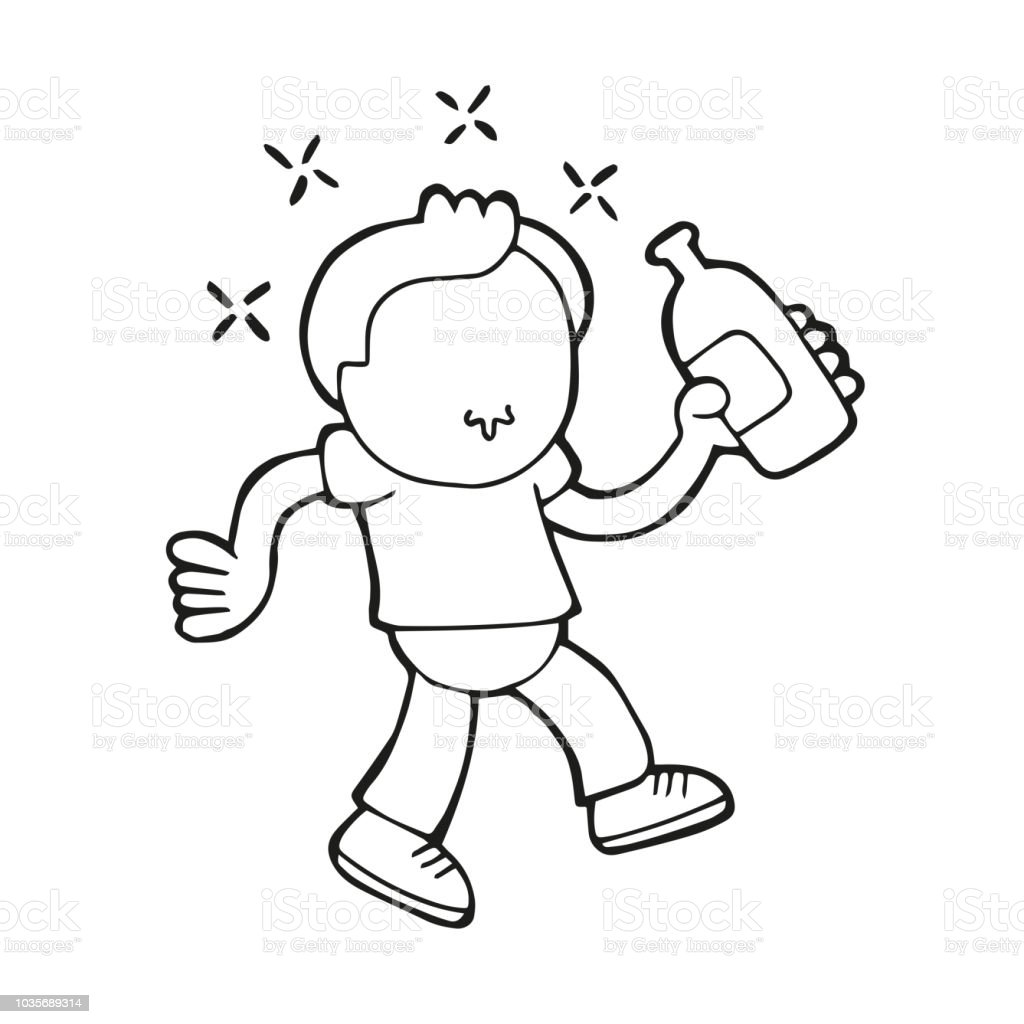 Vector hand-drawn cartoon of drunk man walking holding bottle of beer vector art illustration