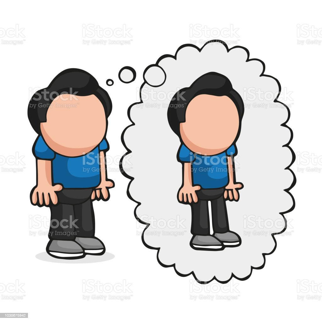 Vector hand-drawn cartoon of fat man standing dreaming of being thin thought bubble vector art illustration