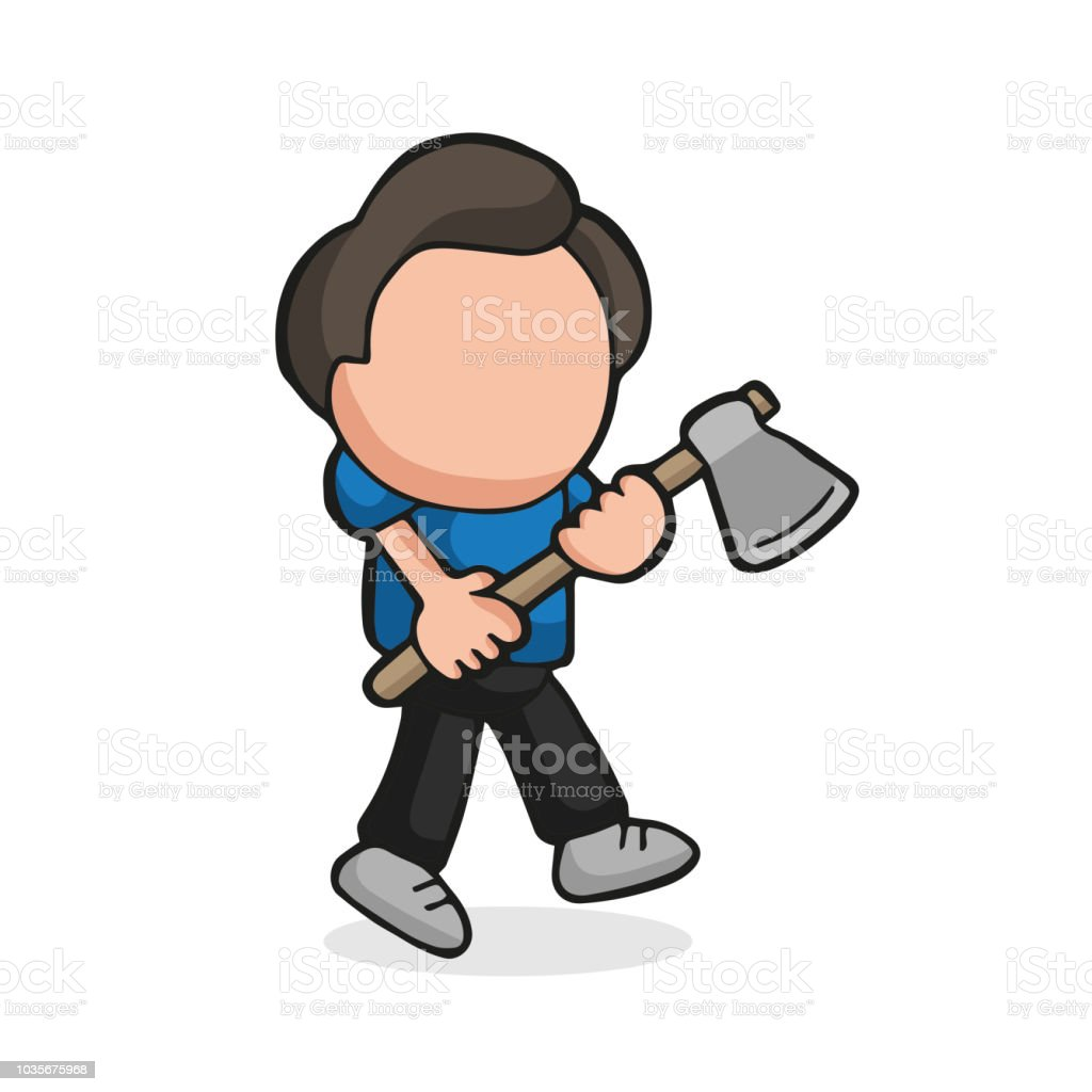 Vector hand-drawn cartoon of lumberjack man holding axe walking vector art illustration