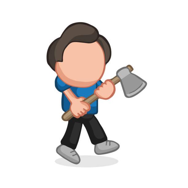 illustrations, cliparts, dessins animés et icônes de caricature de vecteur dessinés à la main d'homme de bûcheron tenant hache de marche - man axe wood