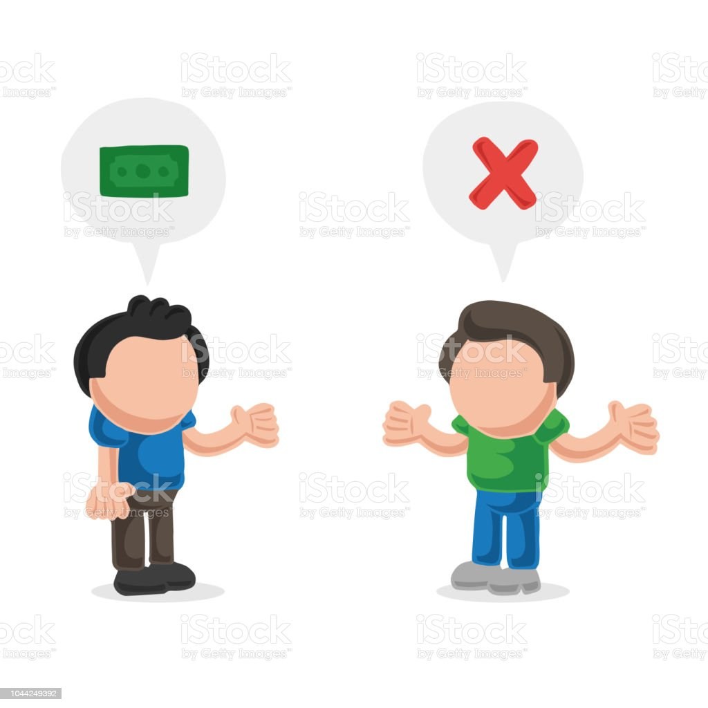 Vector hand-drawn cartoon of man asking another man for money and refused vector art illustration
