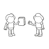 Vector hand-drawn cartoon of man giving book to another man