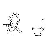 Vector hand-drawn cartoon of man running to pee on toilet bowl