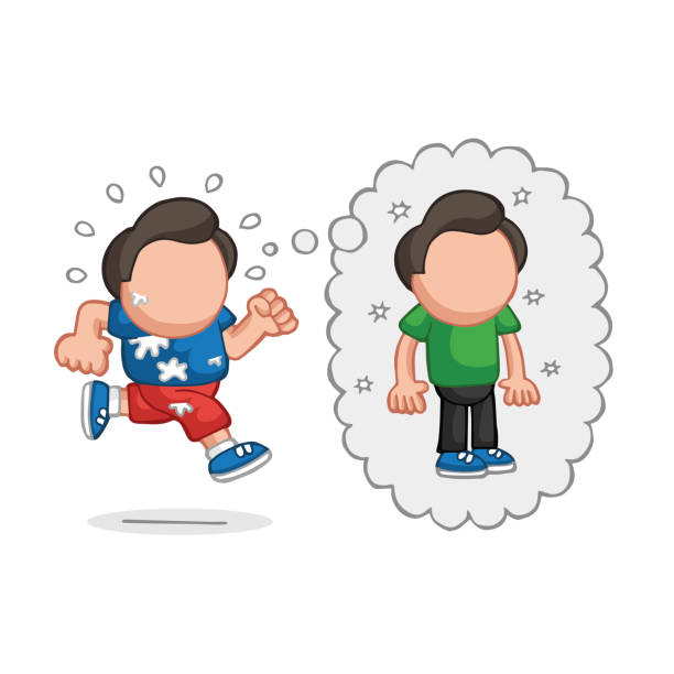 Vector hand-drawn cartoon of running man dreaming of losing weight thought bubble vector art illustration