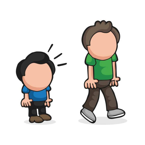 Vector hand-drawn cartoon of short man look and envy tall man vector art illustration