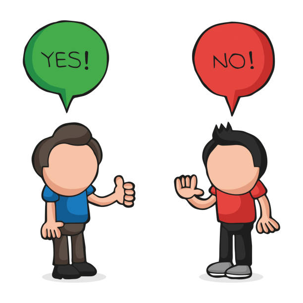 Vector hand-drawn cartoon of two men arguing yes no in speech bubbles vector art illustration