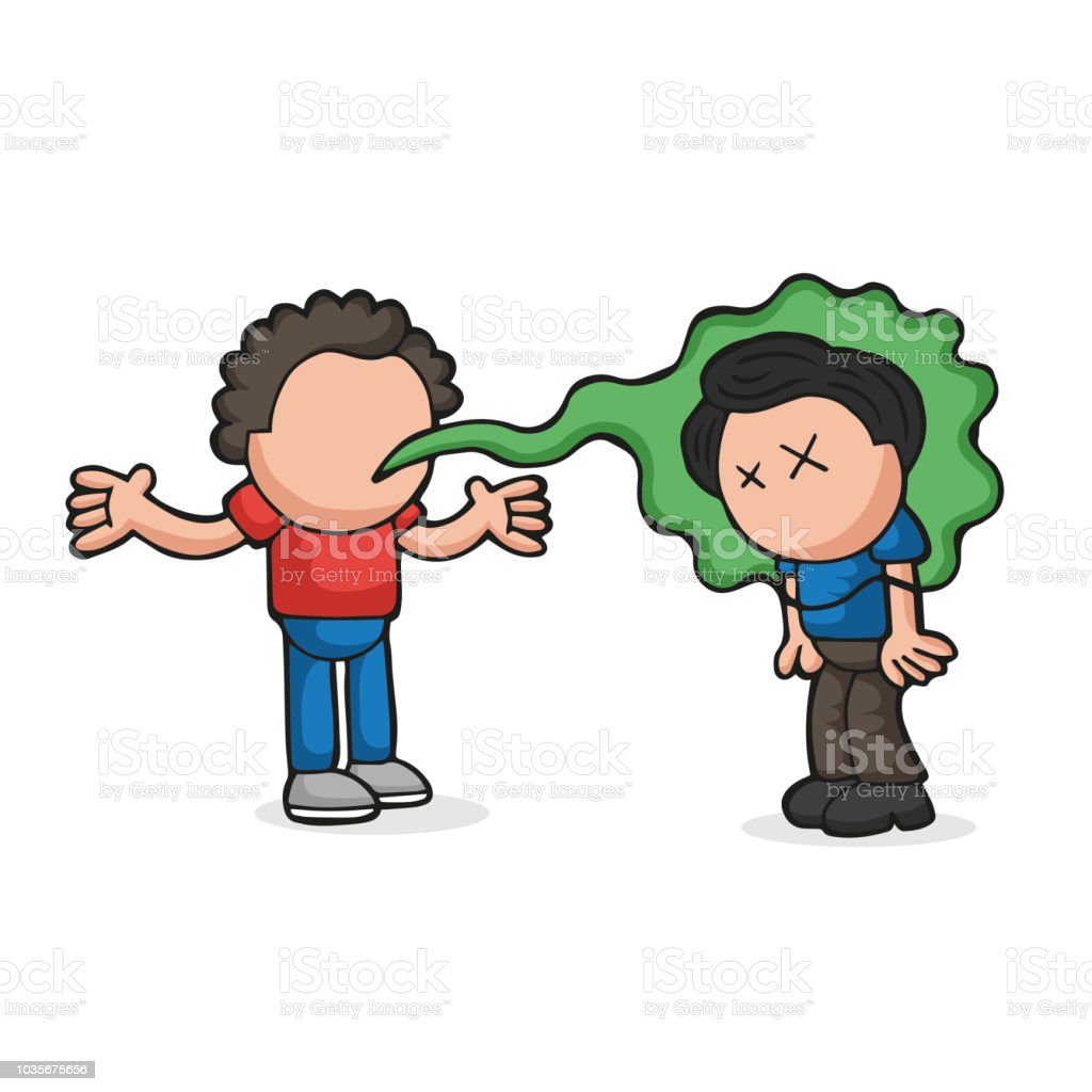 Vector hand-drawn cartoon of with bad breath talking to another man vector art illustration