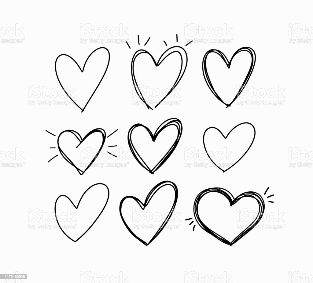 Vector hand-drawn childlike doodle heart icons set - Royalty-free Acariciar arte vetorial