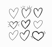 Vector hand-drawn childlike doodle heart icons set design