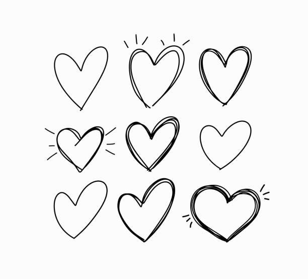 vector hand-drawn childlike doodle heart icons set - szkic rysunek stock illustrations