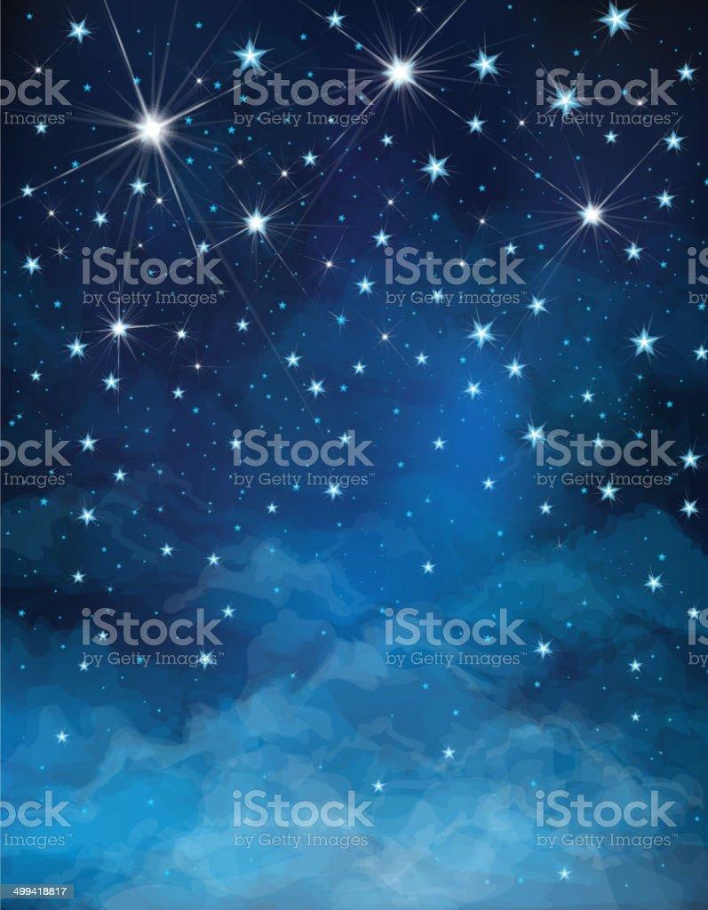 Vector hand-drawn Christmas night starry sky vector art illustration