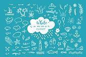 Doodle illustrations for poster, mug, bag, card or t-shirt design. White elements on blue background.