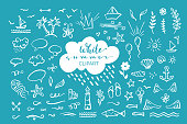 Vector hand-drawn clipart on sea / ocean / summer theme.