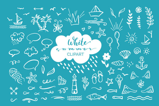 Vector hand-drawn clipart on sea / ocean / summer theme. Doodle illustrations for poster, mug, bag, card or t-shirt design. White elements on blue background. doodle stock illustrations