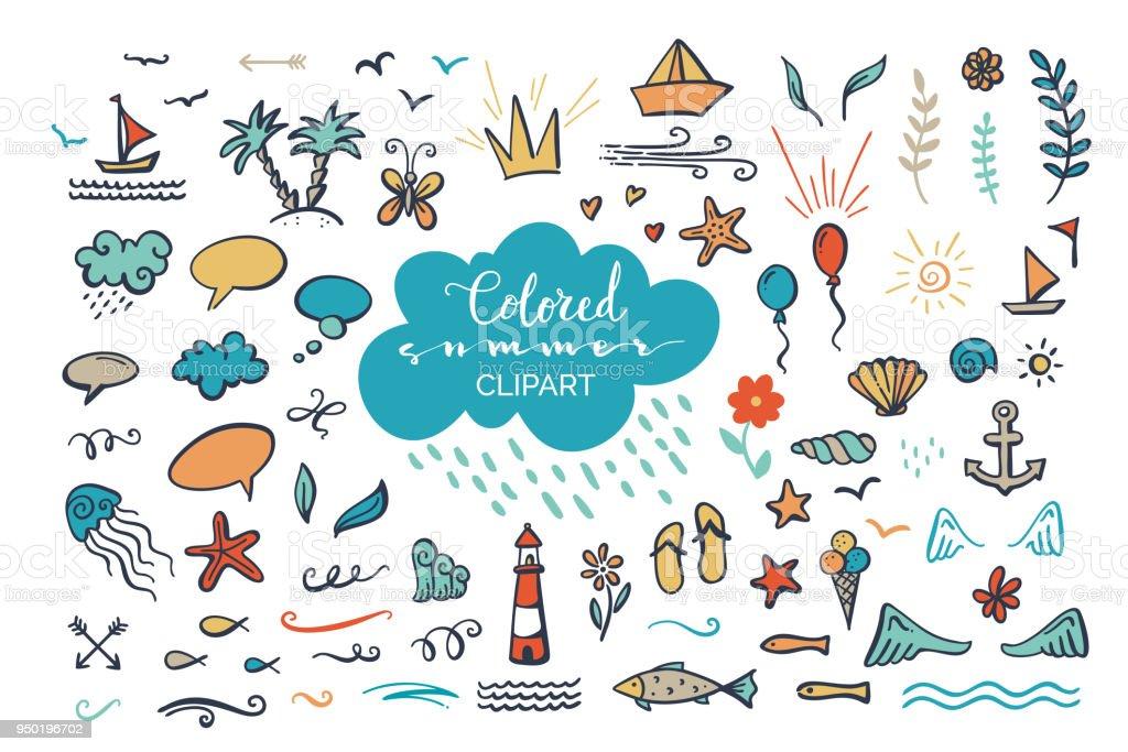 手描きベクトル色の海でクリップアート海夏のテーマ いかりのベクター