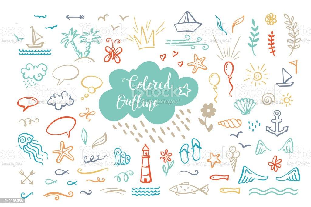 手描きベクトル色の海でアウトライン クリップアート海夏のテーマ