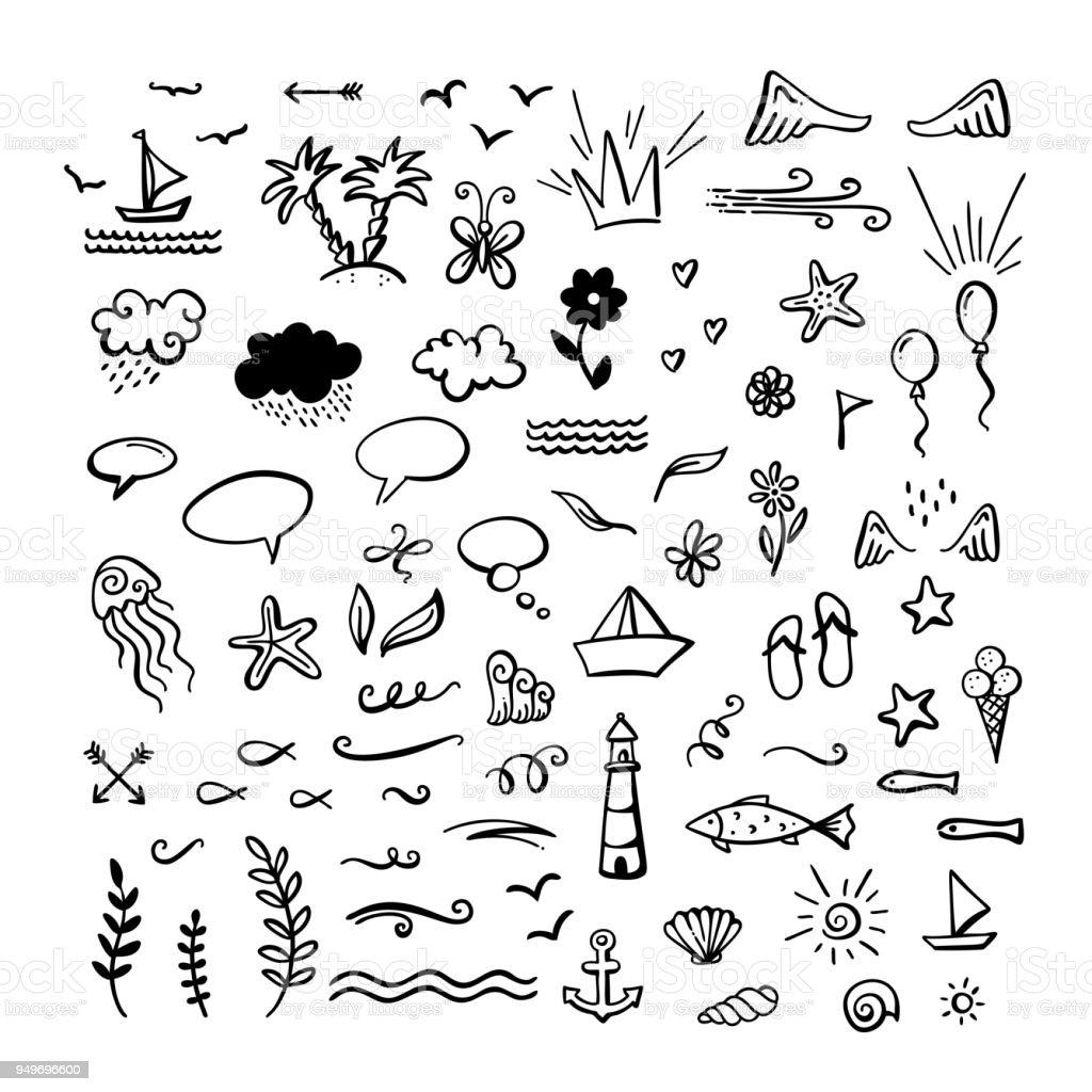 Vektorhandgemalte Doodle Clipart Am Meer Ozean Sommer Thema Stock ...