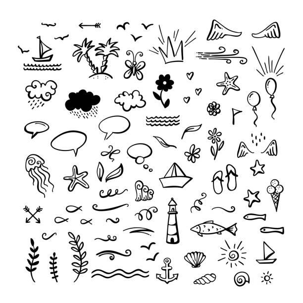 illustrations, cliparts, dessins animés et icônes de vecteur des cliparts de doodle dessinés à la main sur la mer / océan / thème d'été. - animal eau
