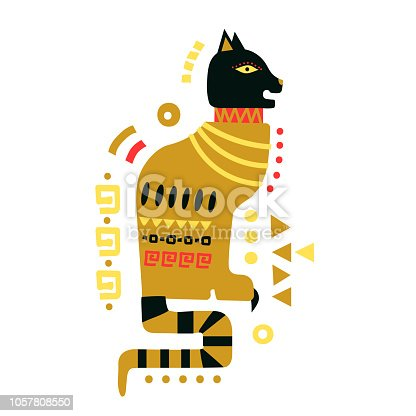 Vector hand-drawn illustration of cat in Egyptian style.