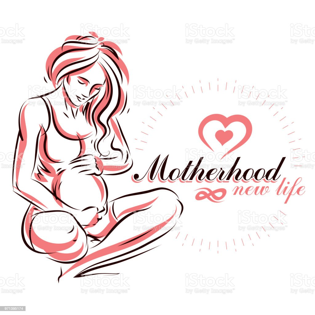 Vector hand drawn illustration of pregnant elegant woman expecting baby sketch mothers day conceptual poster illustration
