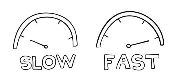 Vektor handgezeichnete Illustration von Tachos. Langsam und schnell. – Vektorgrafik
