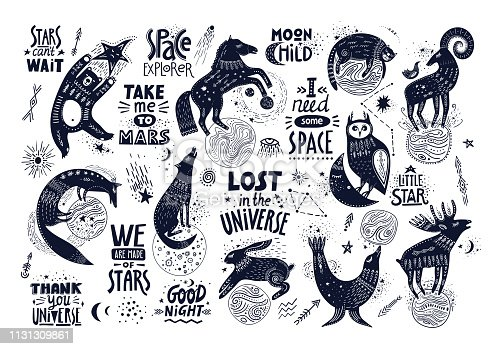 Vector hand-drawn illustration with lettering. Various magic animals and cosmic quotes.
