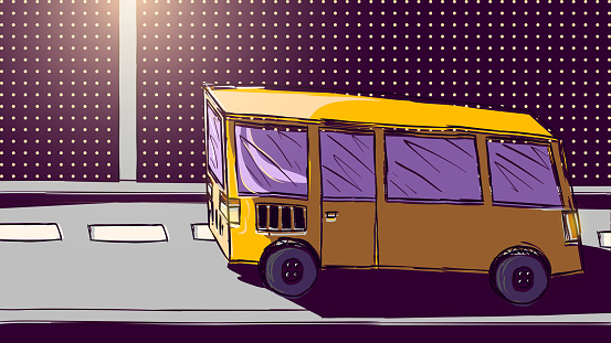 Vector hand-drawn illustration - Yellow bus on the road.
