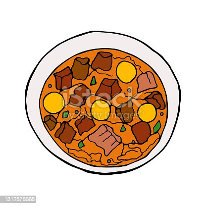 istock Vector hand-drawn migas. Spanish cuisine dish. Design sketch element for menu cafe, bistro, restaurant, label and packaging. Colorful illustration on a white background. 1312878668