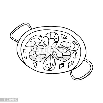 istock Vector hand-drawn paella. Spanish cuisine dish. Design sketch element for menu cafe, bistro, restaurant, label and packaging. Illustration on a white background. 1312386852