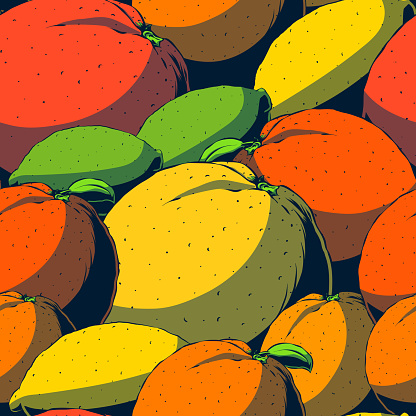 Vector hand-drawn seamless pattern - Citruses.