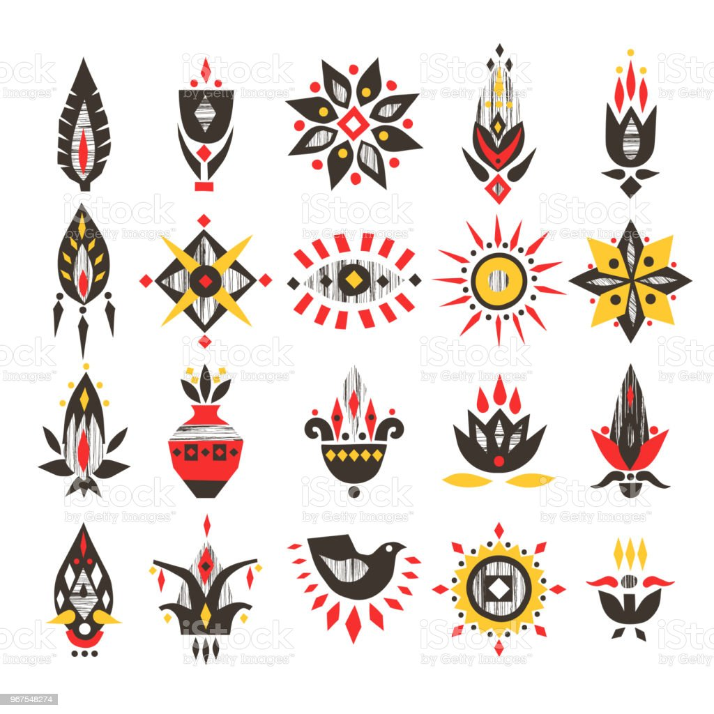 vector handdrawn set of african flowers and symbols with textures